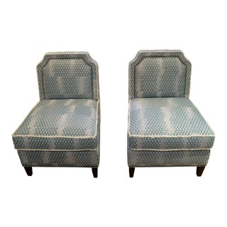 Brush Fringe Slipper Chairs - A Pair For Sale