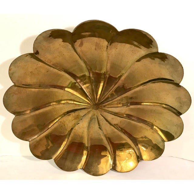 Mid-Century Modern Mid-Century Modern Brass Petal Shaped Bowl Wall Hanging For Sale - Image 3 of 8