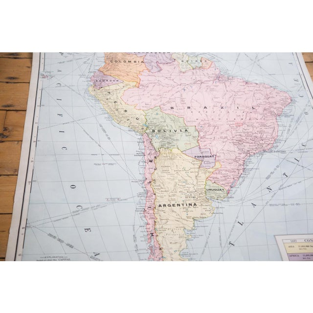 Vintage Cram's Pull Down Map of South America For Sale - Image 5 of 5