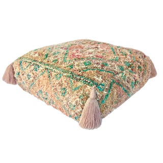 Vintage Mid Century Honey and Green Moroccan Pouf For Sale
