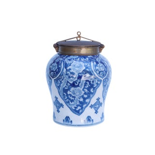 Blue & White Ceramic Ginger Jar With Metal Lid
