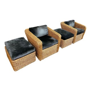 Rattan Arm Chairs + Ottomans With Velvet Cushions - 4 Pieces For Sale