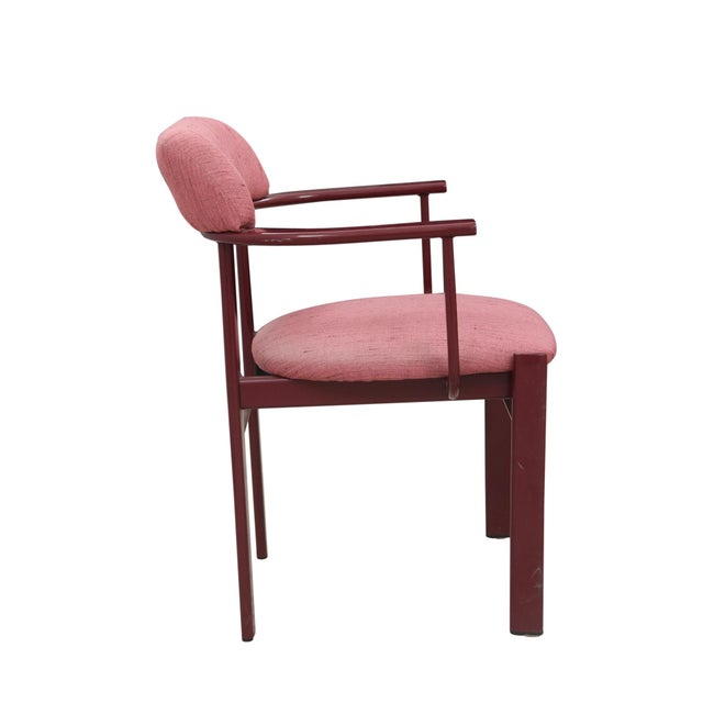 Dusty Rose and Berry Barrel Back Side Chairs - a Pair - Image 3 of 6