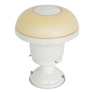 Restored Vintage White Flush Mount Fixture With Art Deco White and Amber Glass For Sale
