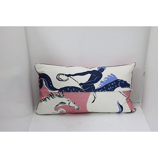 """Custom-tailored pillow in a vintage/never used French Pierre Frey linen fabric called """"Au Lasso"""" from their Vincent Darrè..."""
