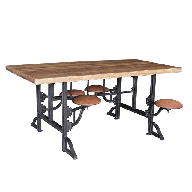 "Reclaimed Wood & Iron Table W/Stools 72"" For Sale"