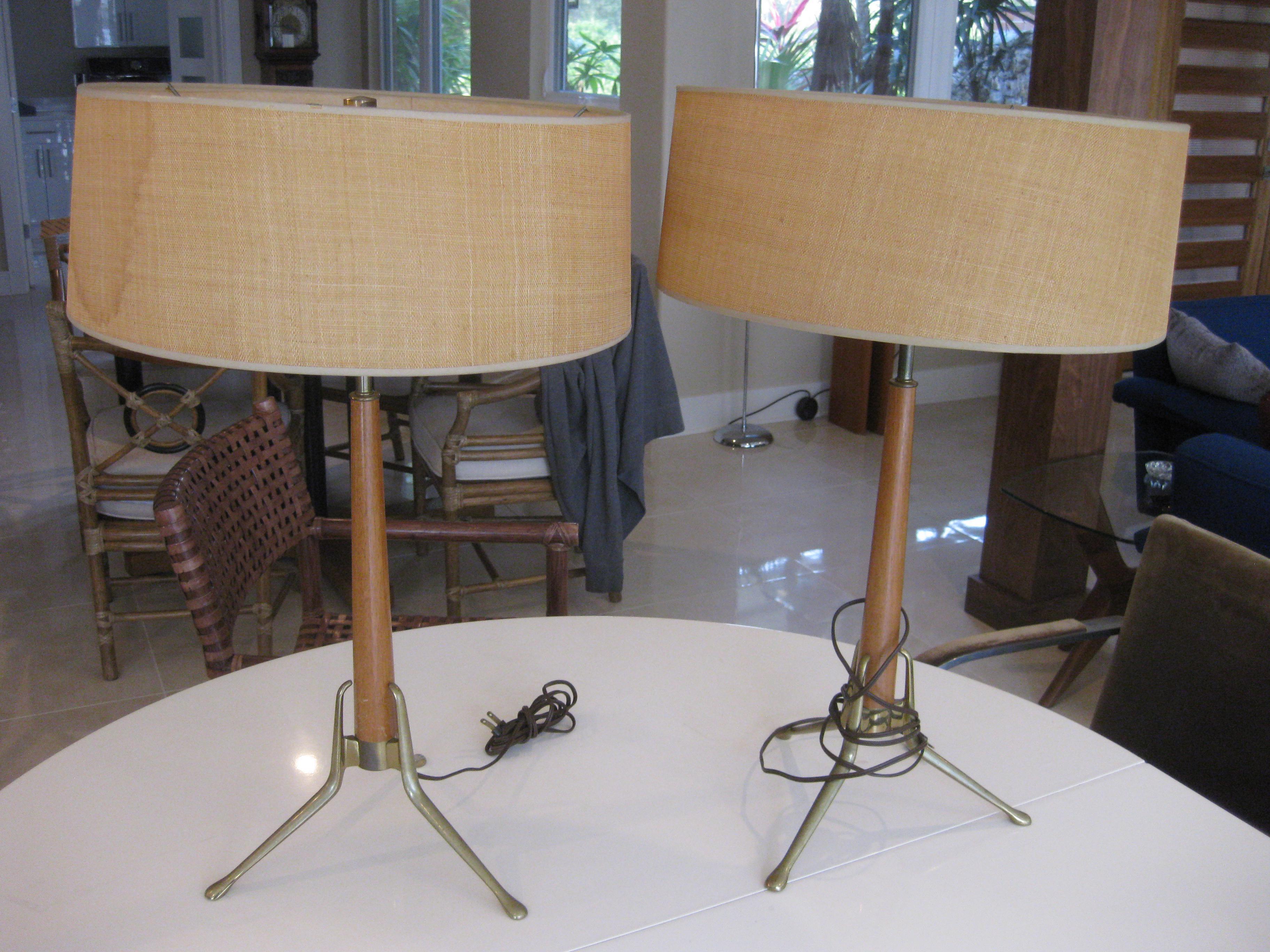 Mid Century Modern Gerald Thurston Tripod Brass Walnut Table Lamps
