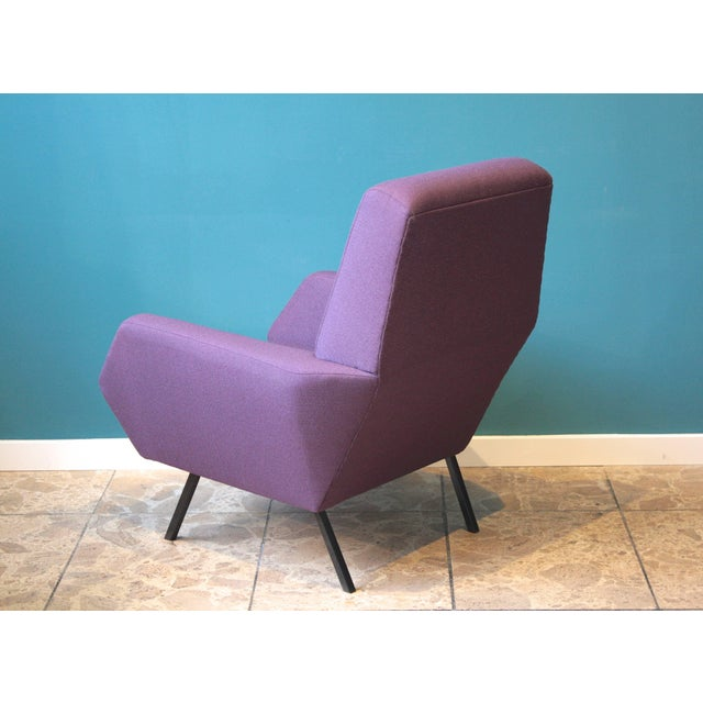 Metal Pair of Reupholstered Italian Vintage Armchairs in Metal and Purple Fabric,1950s For Sale - Image 7 of 9