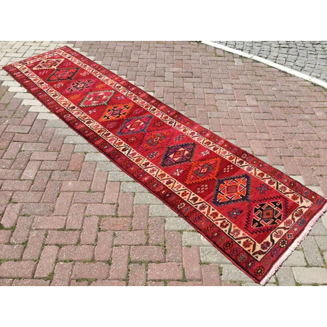 Vintage Hand Knotted Turkish Runner For Sale - Image 9 of 9