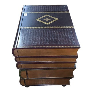 Maitland Smith Stacked Leather Book Side Table For Sale