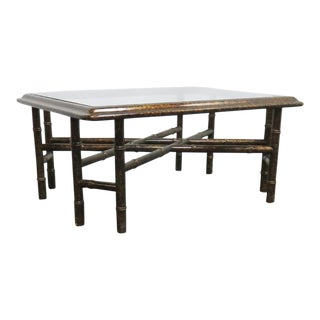 John Widdicomb Faux Bamboo Coffee Table For Sale