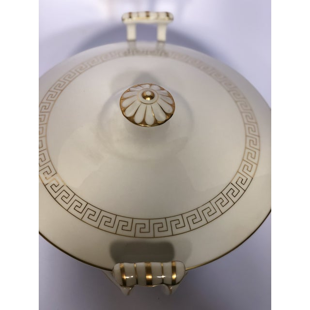 Vintage Greek Key Porcelain Soup Tureen For Sale - Image 4 of 5
