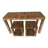 Image of Vintage Boho Chic Natural Rattan Console / Sofa Table Set - 3 Pieces For Sale
