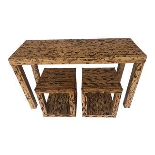 Vintage Boho Chic Natural Rattan Console / Sofa Table Set - 3 Pieces For Sale