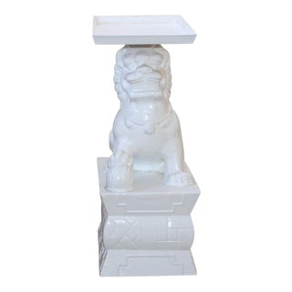 Foo Dog Chinoiserie Palm Beach Hollywood Regency Outdoor Side Table For Sale