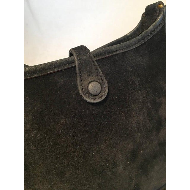 Hermes Black Suede Evelyne Tpm Mini Shoulder Bag For Sale - Image 10 of 13