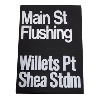 1980s Americana New York City Shea Stadium Subway Sign For Sale