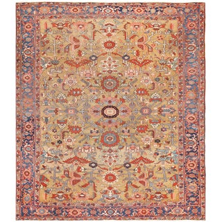 Antique Heriz Persian Golden Background Rug - 9′2″ × 10′5″ For Sale