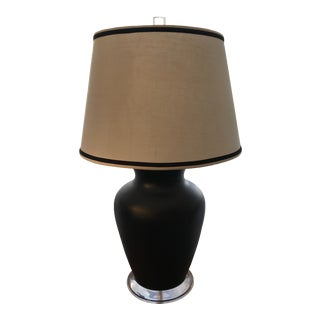 Restored, Vintage Extra-Large Black Ceramic Vase Table Lamp For Sale