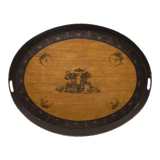 Vintage Tole Handpainted Landscape Oval Tray For Sale