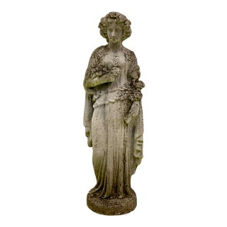 Life-Size Greco-Roman Female Concrete Garden Statue For Sale