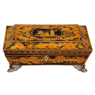 English Regency Penwork Games Box For Sale