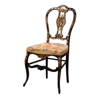 19th Century Napoleon III Black Lacquered and Gilt Decorative Chair For Sale