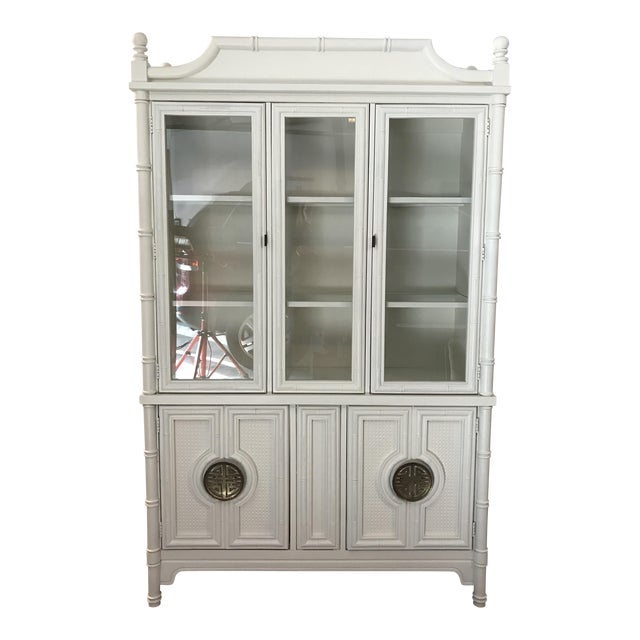 Chinoiserie Faux Bamboo Painted China Cabinet For Sale