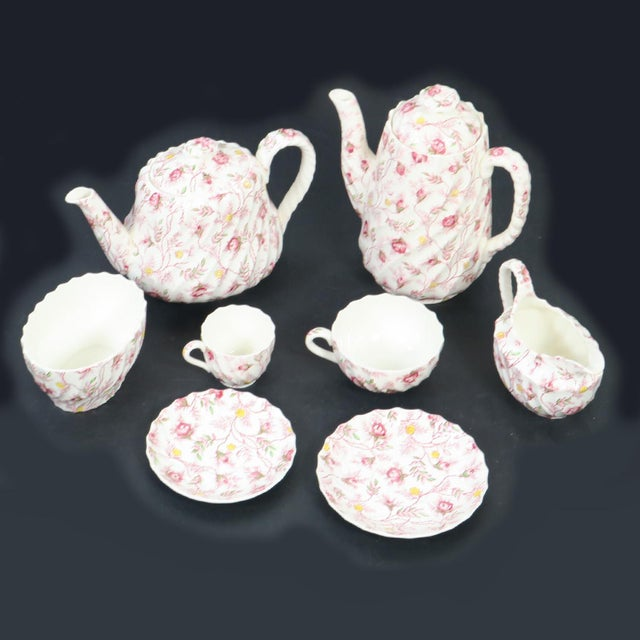 English Vintage Copeland Spode Rosebud Chintz China Dinnerware Set - 124 Piece Set For Sale - Image 3 of 13