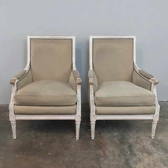French Pair 19th Century French Louis XVI Bergeres ~ Armchairs For Sale - Image 3 of 13