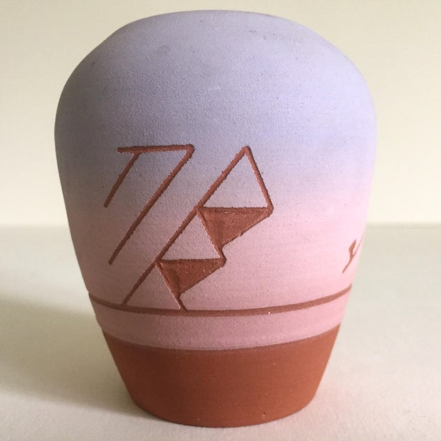 Vintage Native American Sioux Havel Marie Signed Pink Purple Ombre Terra Cotta Vase - Image 2 of 11