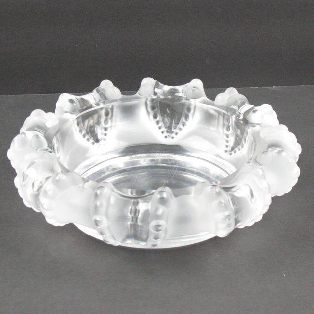 Mid-Century Modern Lalique France Large Crystal Ashtray Bowl Dish For Sale - Image 3 of 8