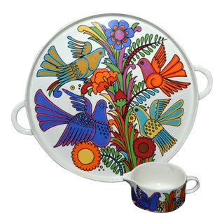 "Villeroy & Boch ""Acapulco"" Tray/Chop Plate, Creamer and Ash Tray- 3 Piece Set"