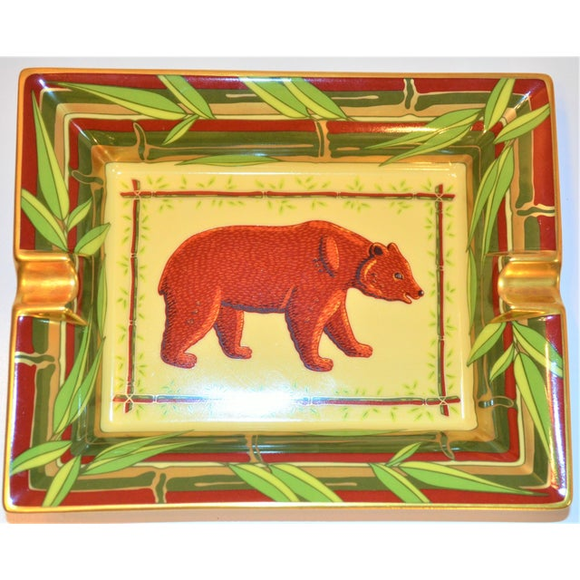 Green Vintage Hermès Bear and Bamboo Cigar Tray For Sale - Image 8 of 13