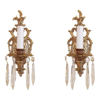1950s Regency Style Brass & Crystal Sconces - a Pair For Sale