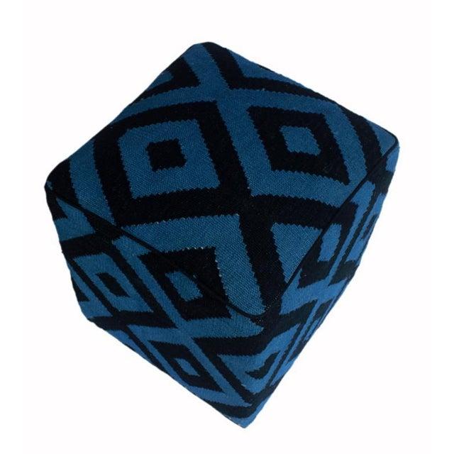 Shabby Chic Arshs Deloris Lt. Teal/Black Kilim Upholstered Handmade Ottoman For Sale - Image 4 of 8