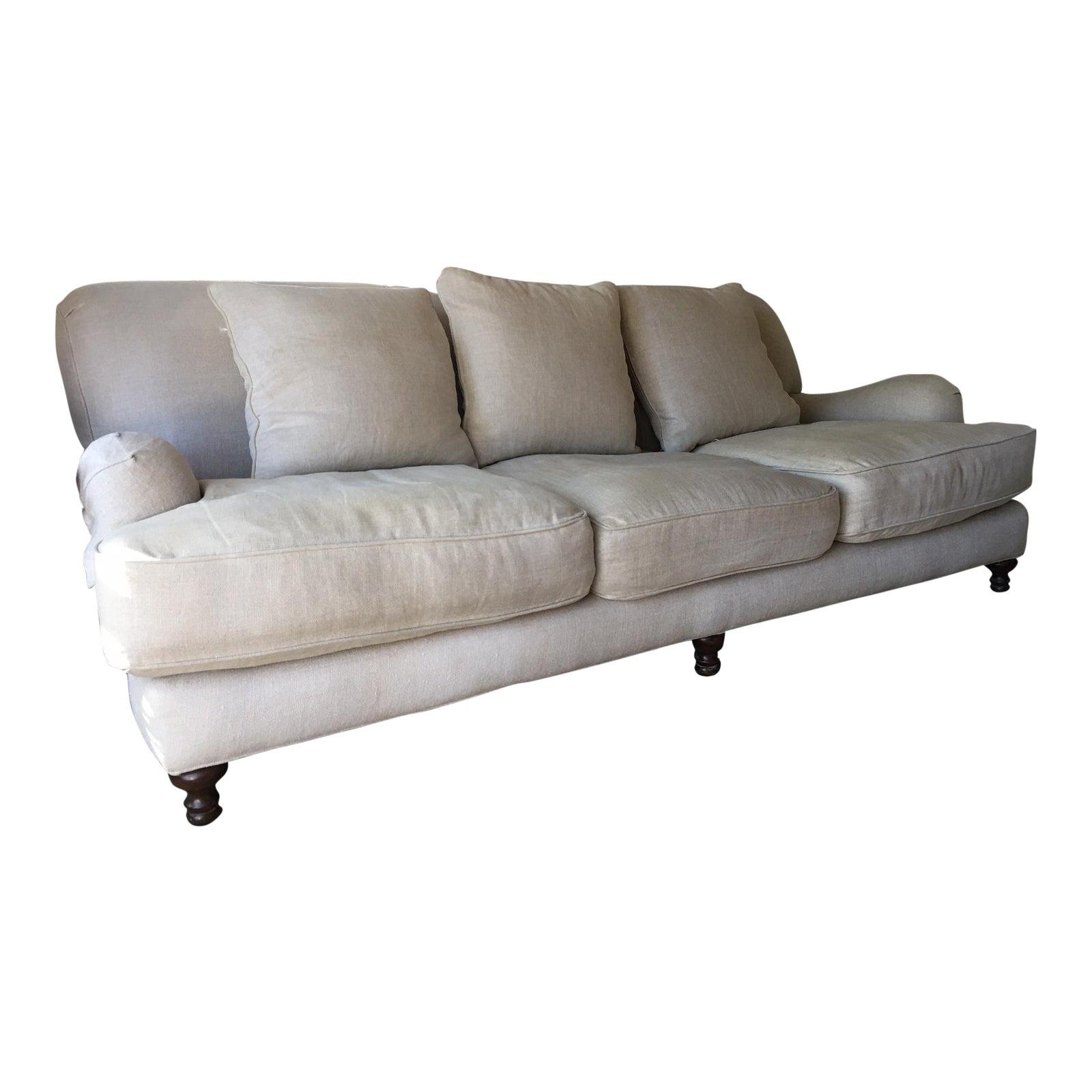 Restoration Hardware Sand Linen English Roll Arm Sofa | Chairish