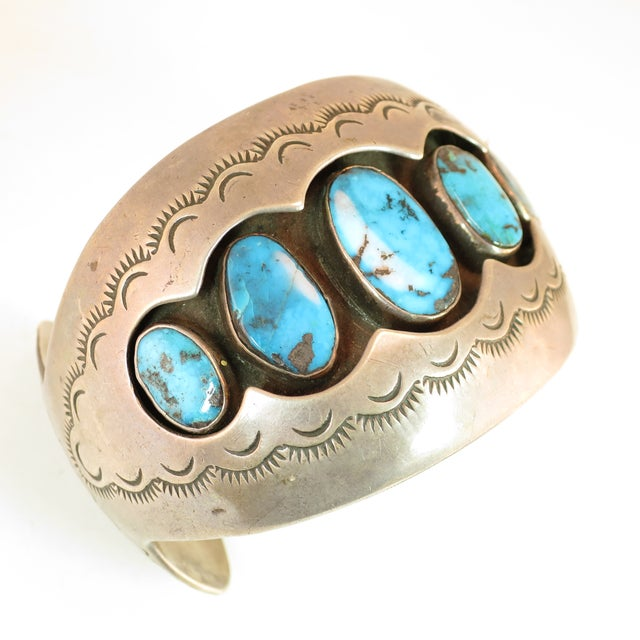 Native American Zuni Turquoise & Sterling Cuff Bracelet, Mabel Watson 1970s For Sale - Image 12 of 12