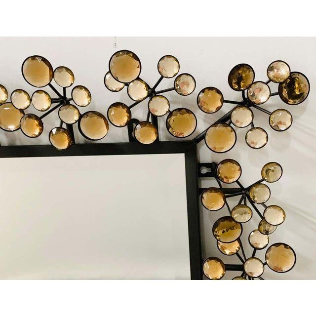Mid-Century Modern Black and Faux Crystal Accent Beveled Wall Mirror For Sale - Image 4 of 13
