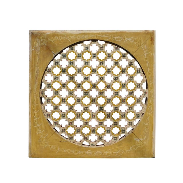 Chinese Rustic Flower Star Geometric Wood Panel For Sale