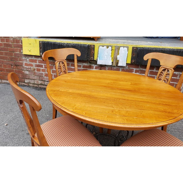 Ethan Allen Ethan Allen Legacy Collection Maple Table W/ Wrought Iron Base & 4 Side Chairs C1990s For Sale - Image 4 of 13