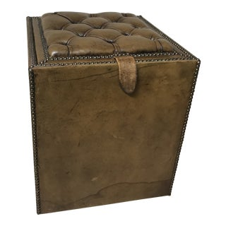 1920s Vintage Leather Storage Stool For Sale