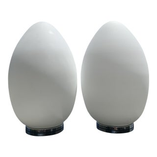 Laurel Style White Glass Atomic Egg Table Lamps - a Pair For Sale