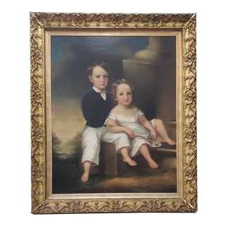 """Monumental Mid 19th Century """"Siblings"""" Oil Portrait For Sale"""