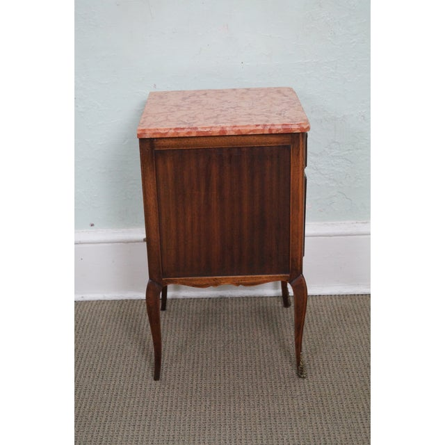 Antique Louis XV Walnut Marble Top Nightstand - Image 3 of 10
