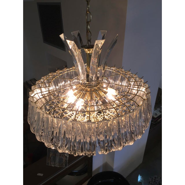 Mid Century Modern Triarch Lucite Chandelier - Image 5 of 9