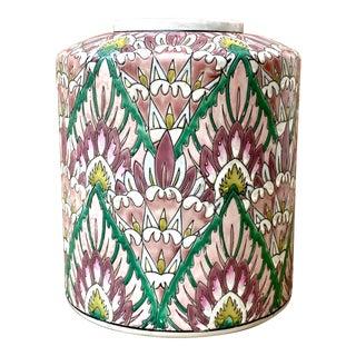 Vintage Japanese Porcelain Flame Stitch Vase / Urn For Sale