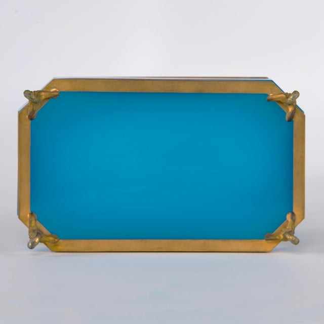 Art Deco French Footed Blue Opaline Glass and Brass Dish For Sale - Image 3 of 13