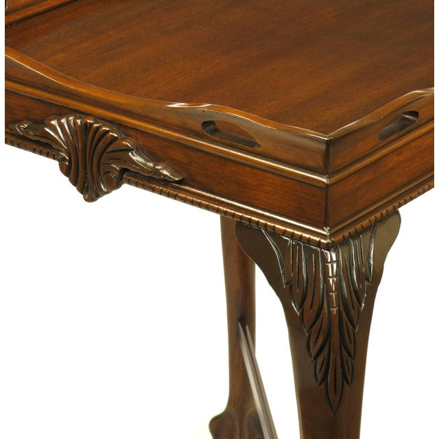 Wood Pair of Mahogany Ball and Claw Footed George II Style End Tables For Sale - Image 7 of 11
