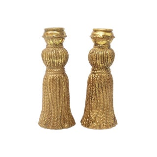 Vintage Gold Tassel Candle Holders - a Pair For Sale